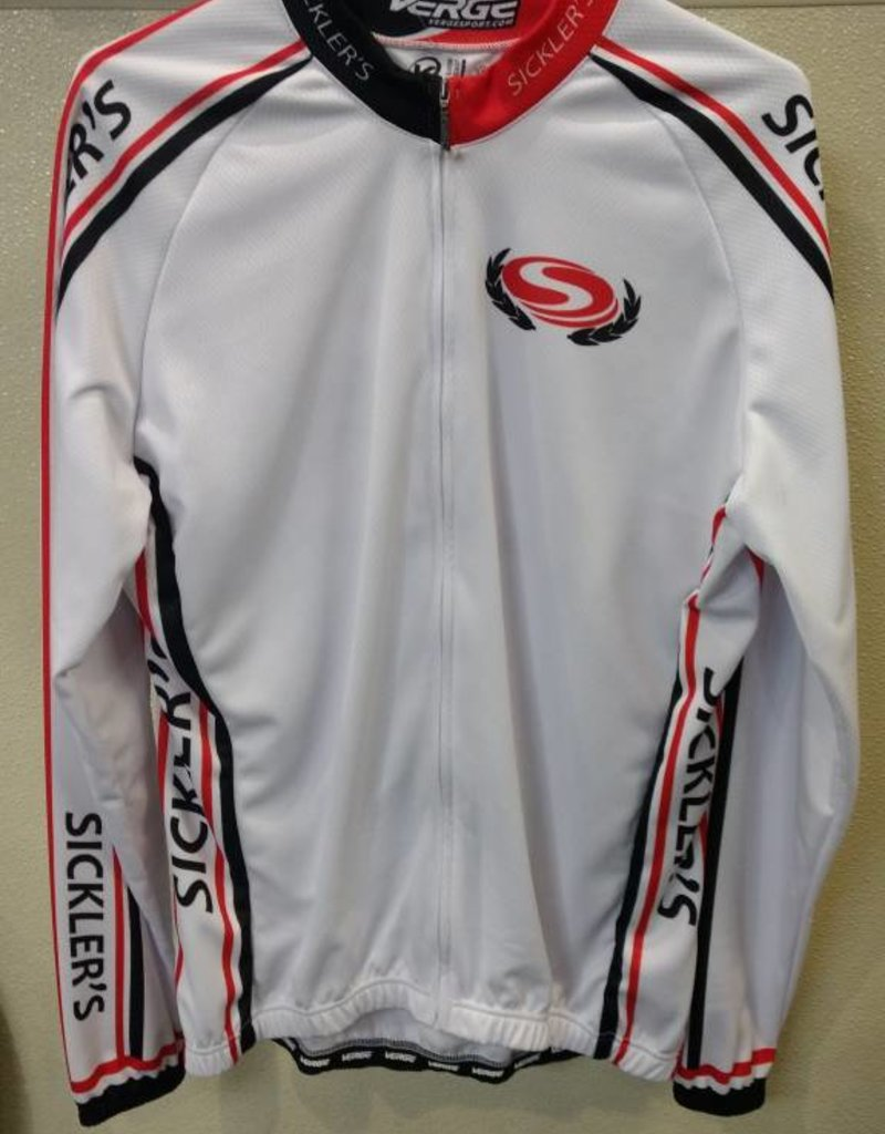 V-Gear Sickler's White Men's Jersey Sport Cut LS Medium