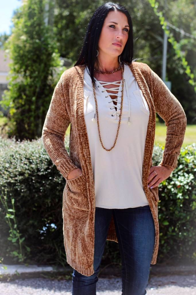 KNIT CHENILLE CARDIGAN
