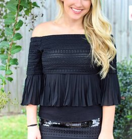 OFF SHOULDER PLEATED TOP