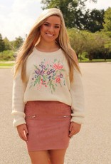 COLD SHOULDER EMBROIDERED SWEATER
