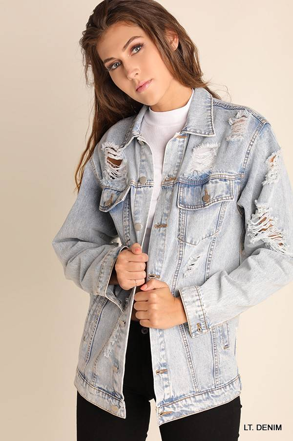 ACID WASH DISTRESSED DENIM JACKET
