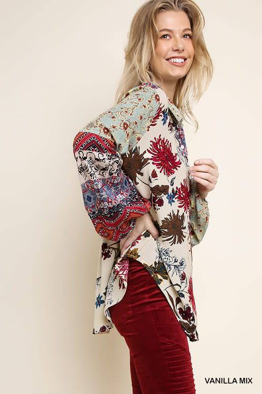 FLORAL & PAISLEY PRINT BUTTON UP SHIRT