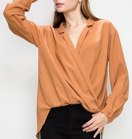 LAPEL COLLAR SURPLICE BLOUSE