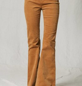 ELASTIC MID RISE BELL BOTTOM COURDROY PANTS