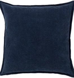 Surya Cotton Velvet Pillow 22 X 22 Navy Blue