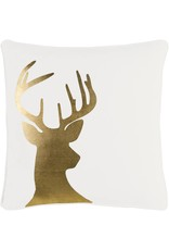 Surya Holiday Gold Deer 18X18