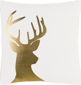 Surya Holiday Gold Deer 18X18