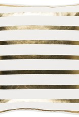 Surya Holiday Gold Stripe Pillow 18x18