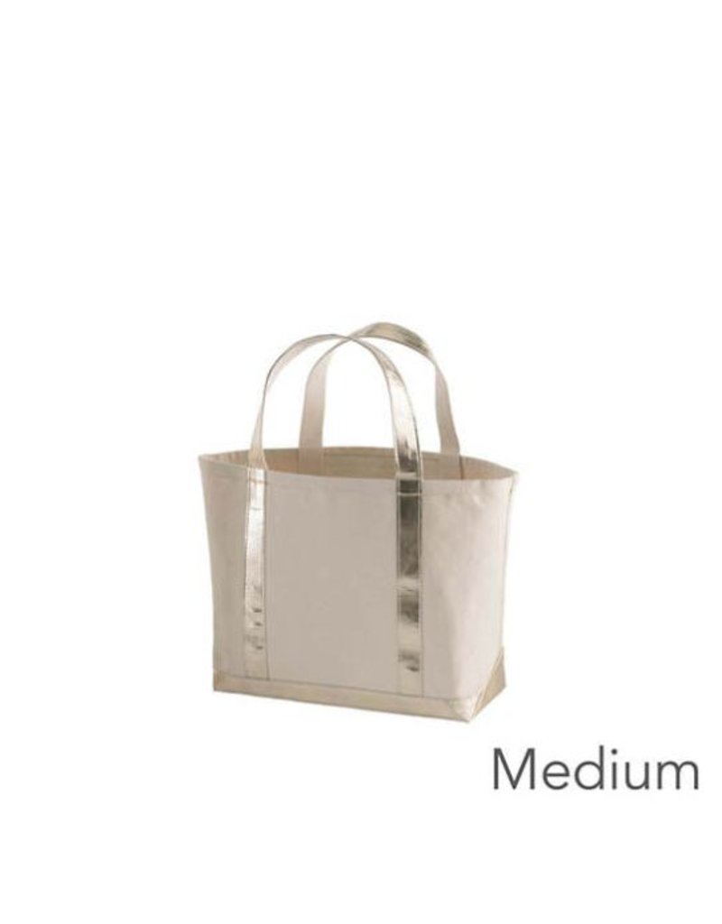 Pine Cone Hill Glam Canvas Natural/Gold Tote Bag- Med