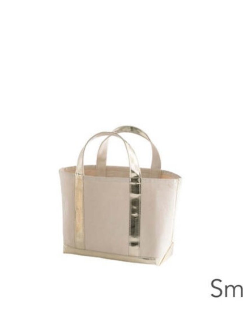 Pine Cone Hill Glam Canvas Natural Gold Tote- Sm