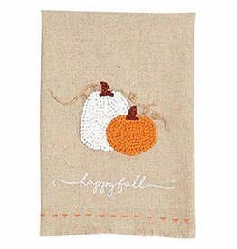 MudPie Pumpkin French Knot Towel- Orange