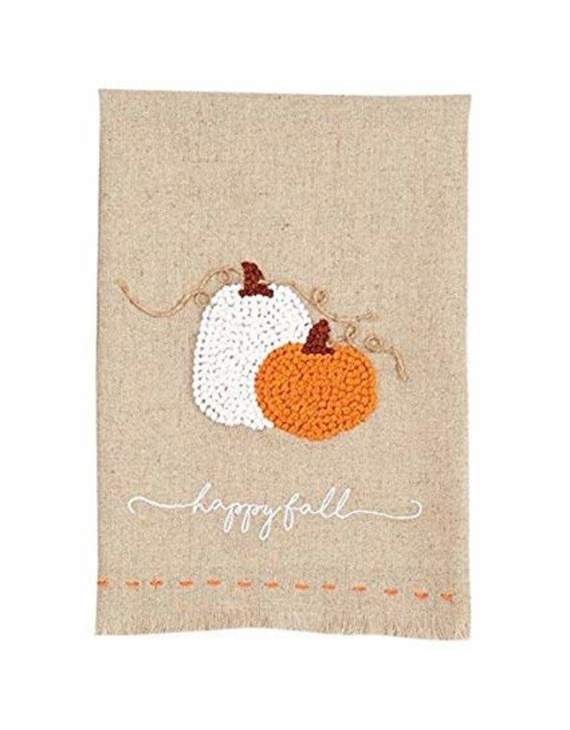 MudPie Pumpkin French Knot Towel- Orange