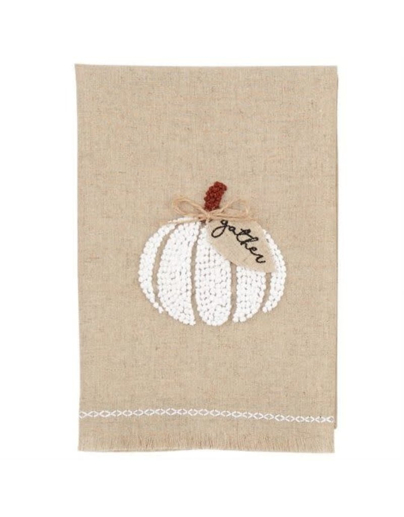 MudPie Pumpkin French Knot Towel- White