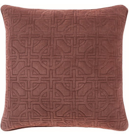 Surya Velvet Pillow 22 x 22 - Burnt Red