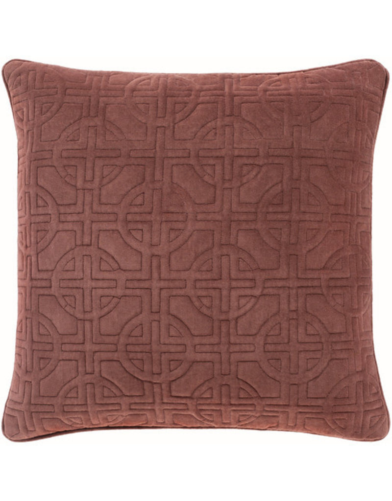Surya Velvet Pillow 22 x 22 - Burnt Red