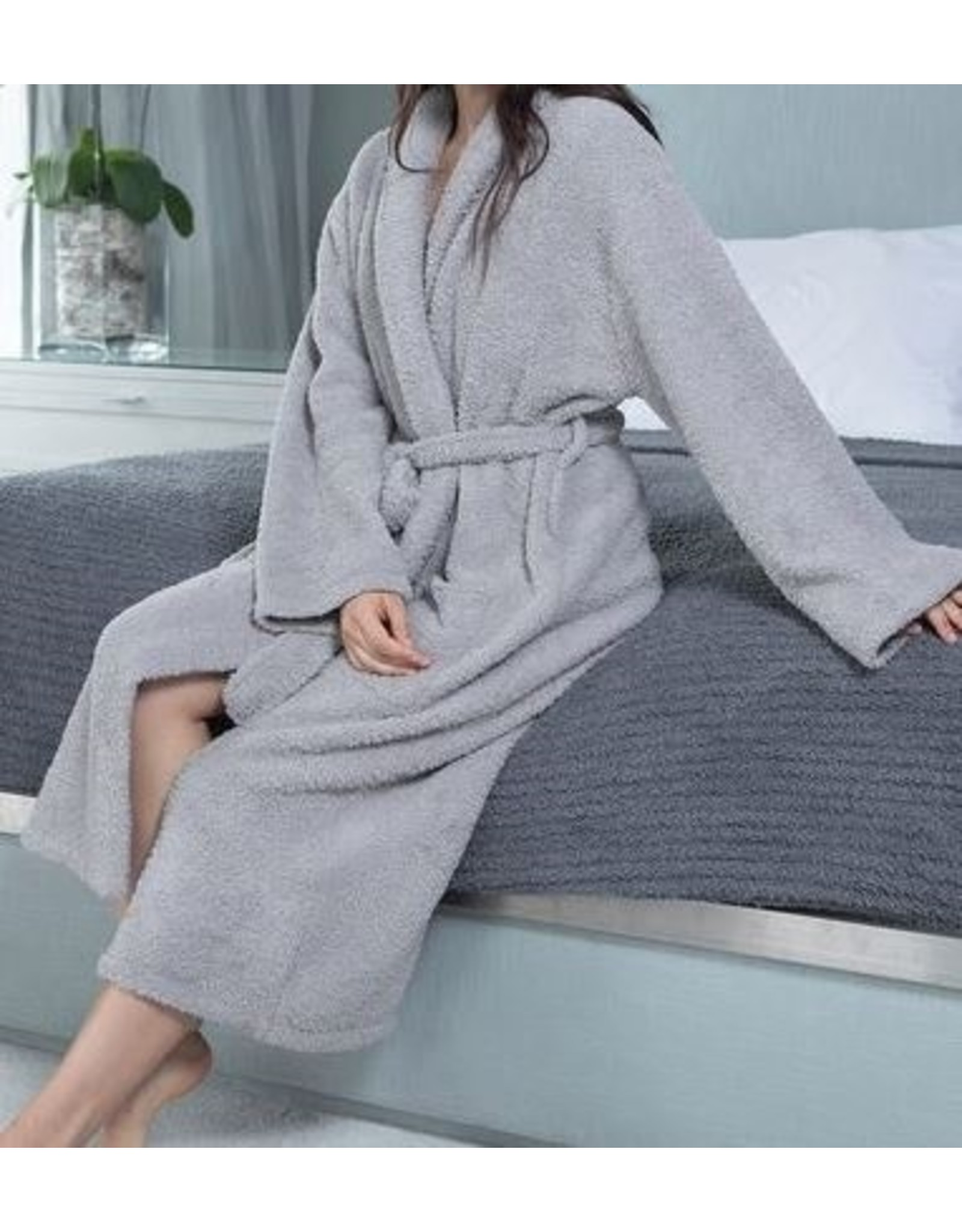 Barefoot Dreams Cozychic Robe - Dove Gray Large
