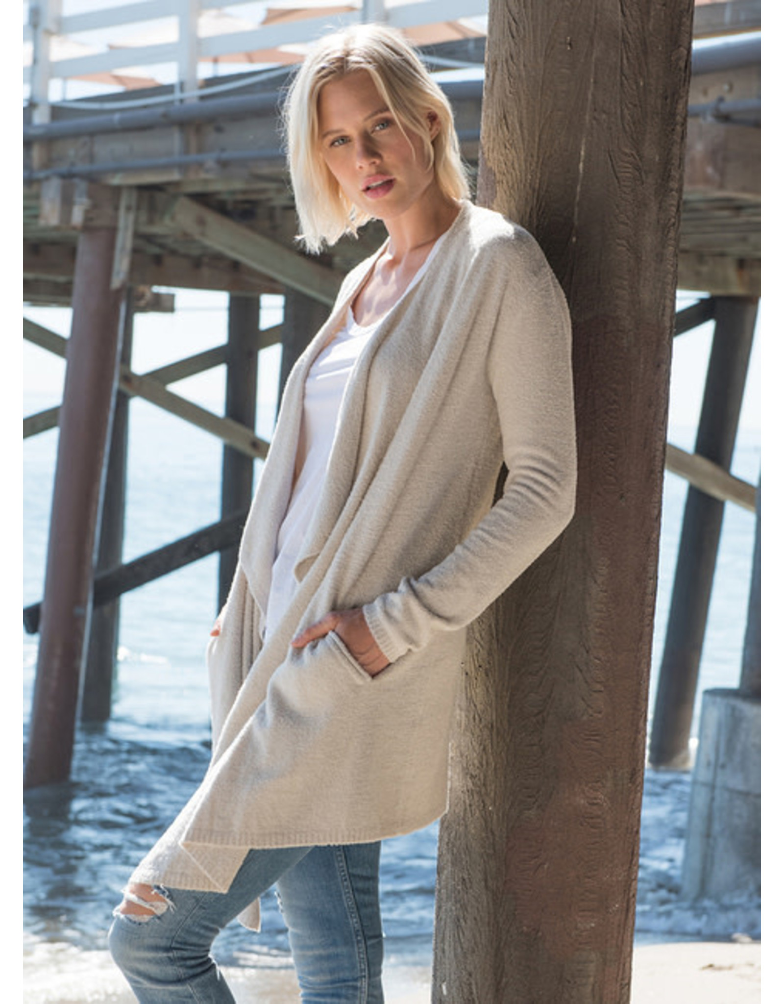 Barefoot Dreams Cozychic Coastal Cardi - Bisque Small
