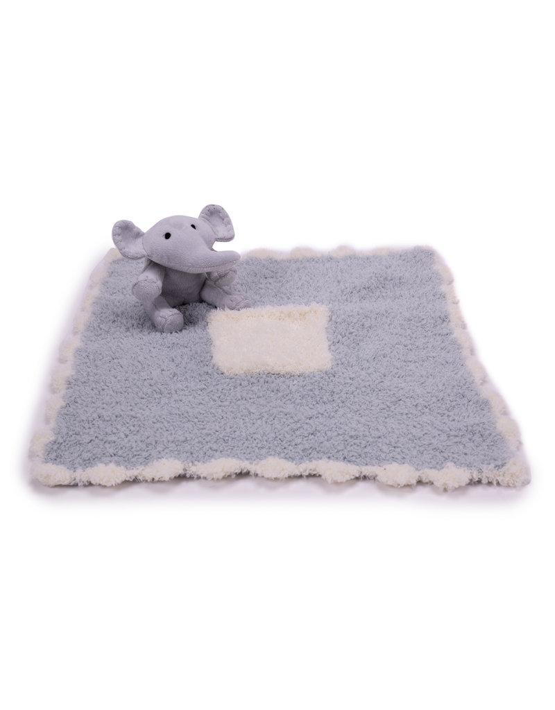 Barefoot Dreams Cozychic Blanket Buddy - Blue Elephant