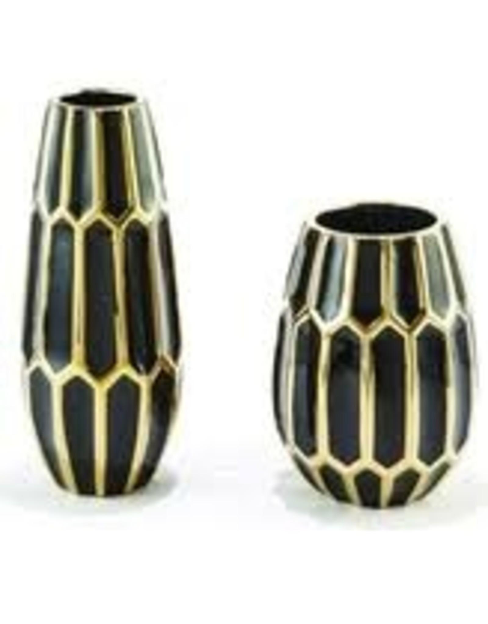 TOZAI Black and Gold Ceramic Vases- Small