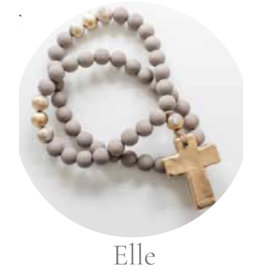 """Sercy Studio Elle Blessing Beads- Gray White with Gold 30"""""""