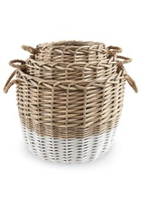 MudPie Dual Toned Wicker Basket Set