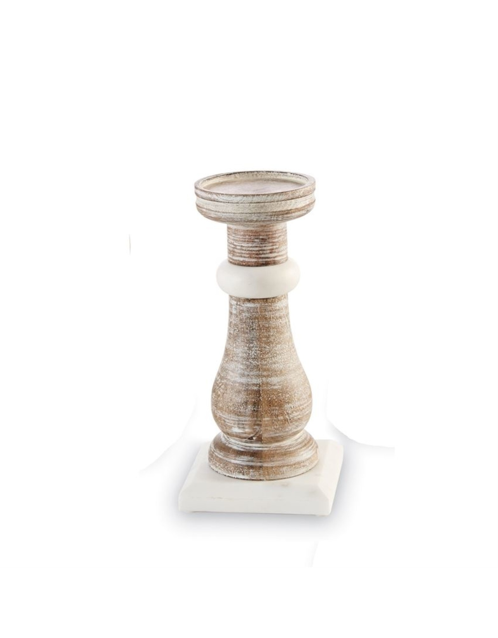 MudPie Small Marble Wood Candlestick