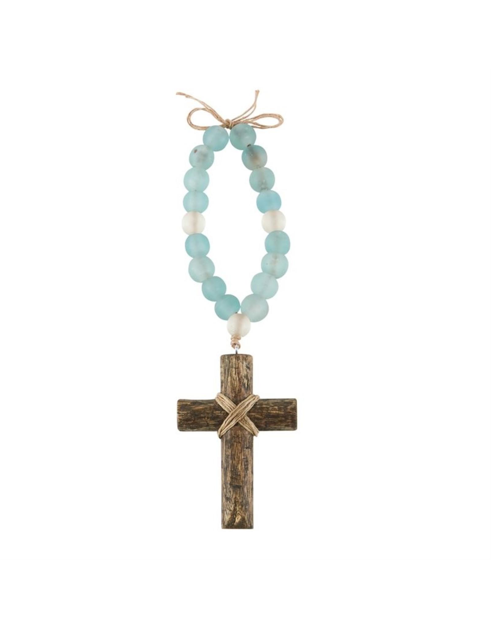 MudPie Cross Drift Wood Glass Beads