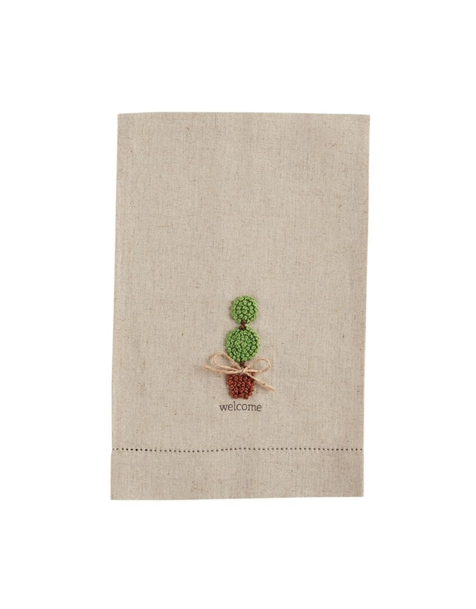 MudPie Welcome Topiary Knot Towel