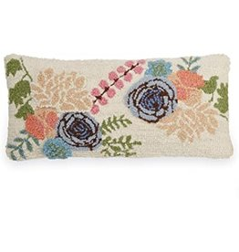 MudPie Lumbar Floral Hook Wool Pillow