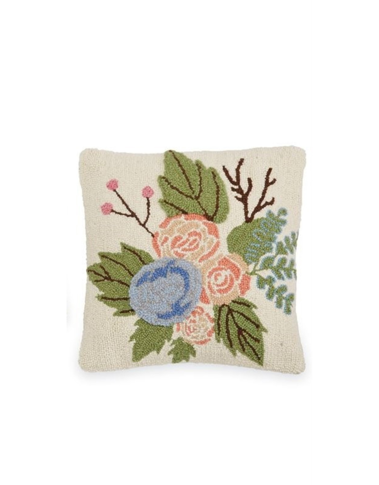 MudPie Square Floral Hook Wool Pillow