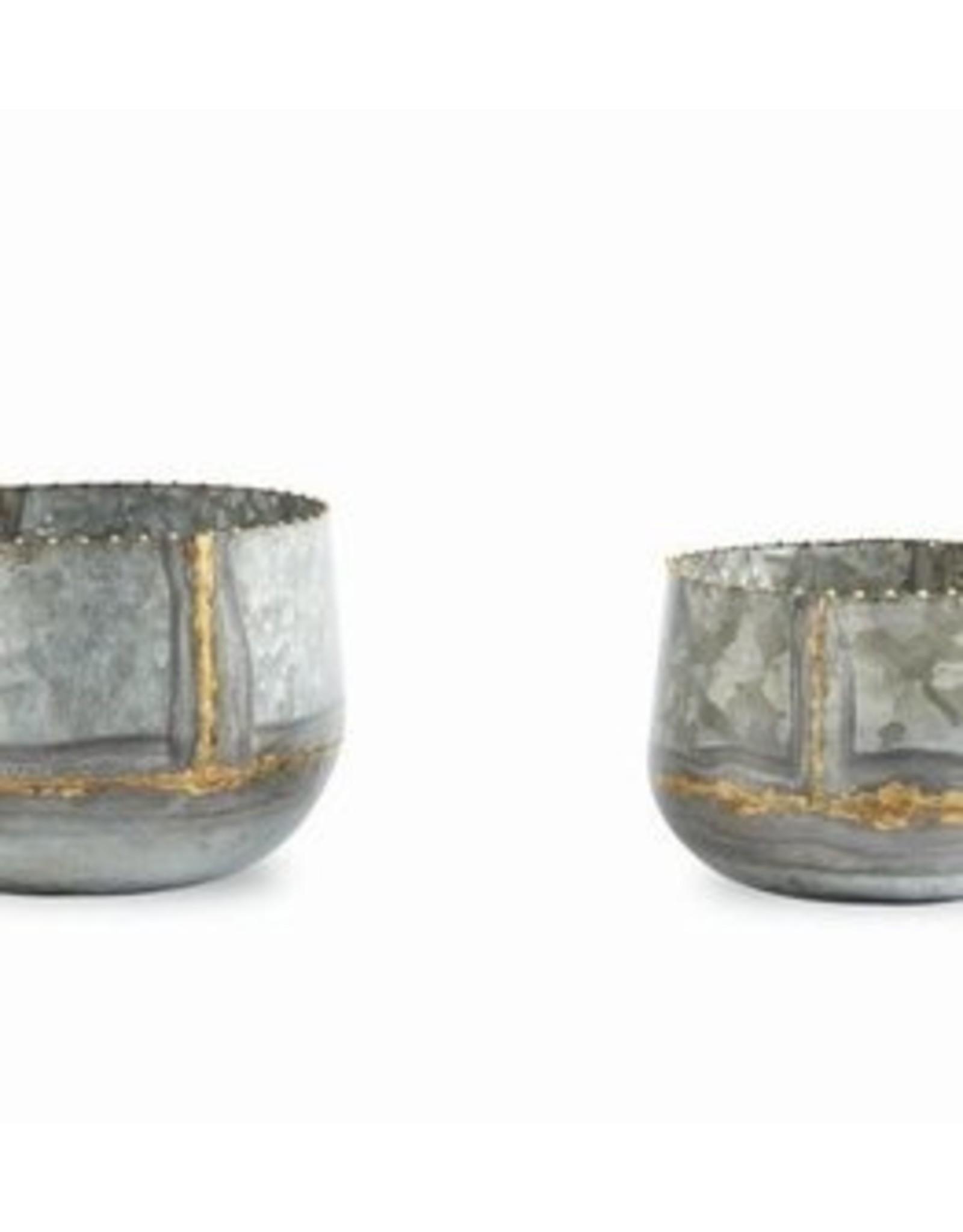 MudPie Tin Gold Stripe Pot Set