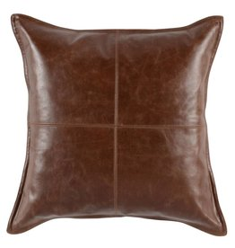 Classic Home SLD Kona Leather Brown Pillow