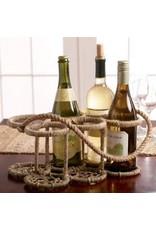 India Handicrafts Iron Jute 6-Bottle Stand
