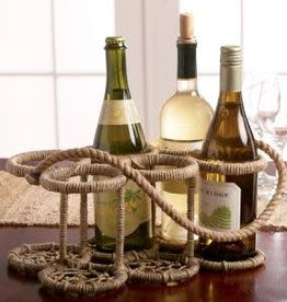 India Handicrafts Iron Jute 6-Bottle Stand