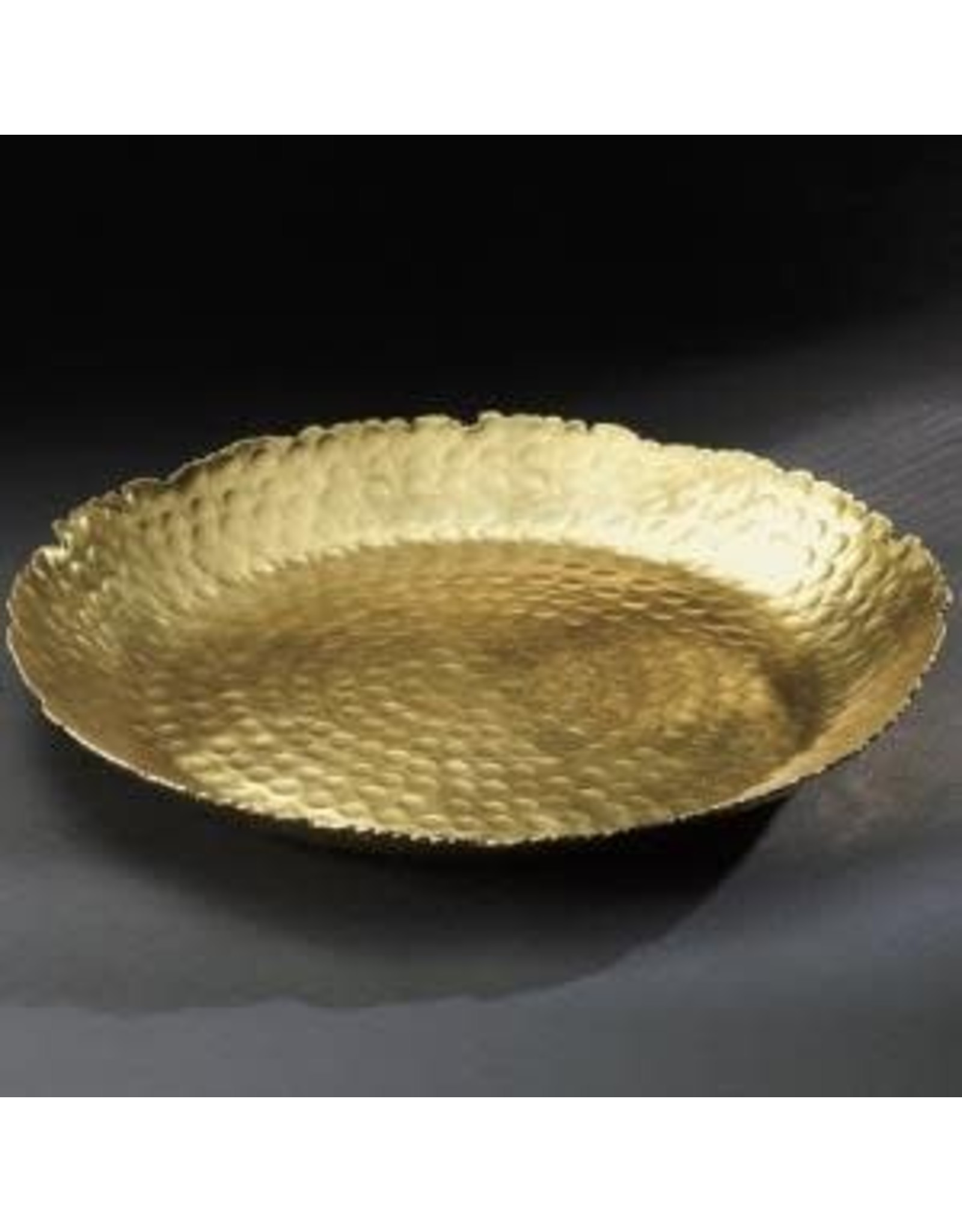 India Handicrafts Gilded Hammered Round Plate