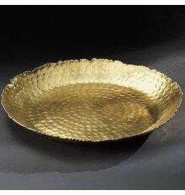 India Handicrafts Gilded Hammered Round Plate