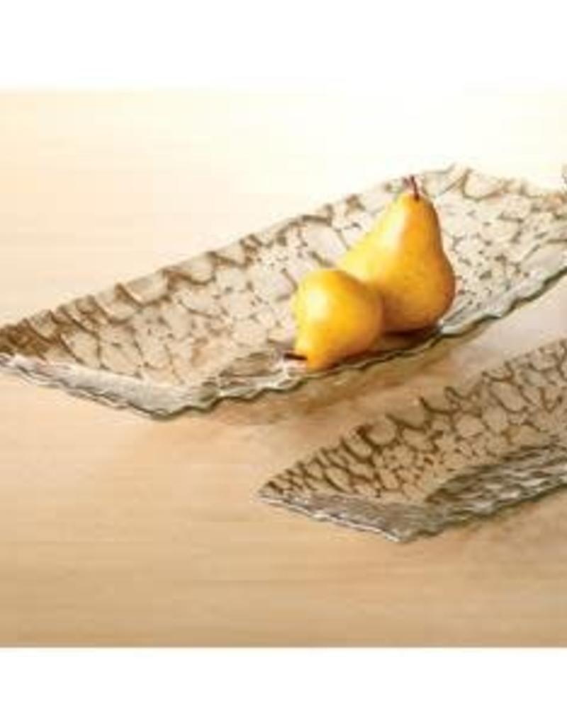 India Handicrafts Gold oval Pebble Tray