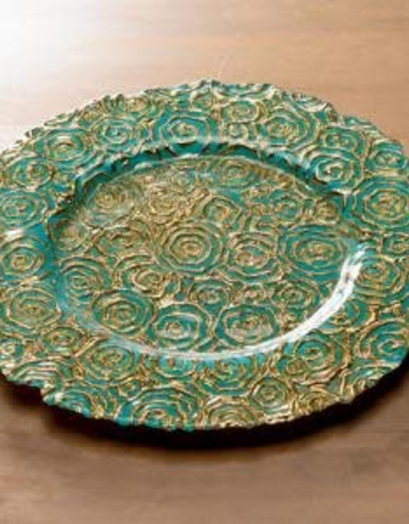India Handicrafts Turquoise and Gold Rose Plate