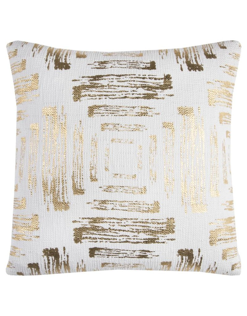 Rizzy Home Gold and White Pillow 20X20