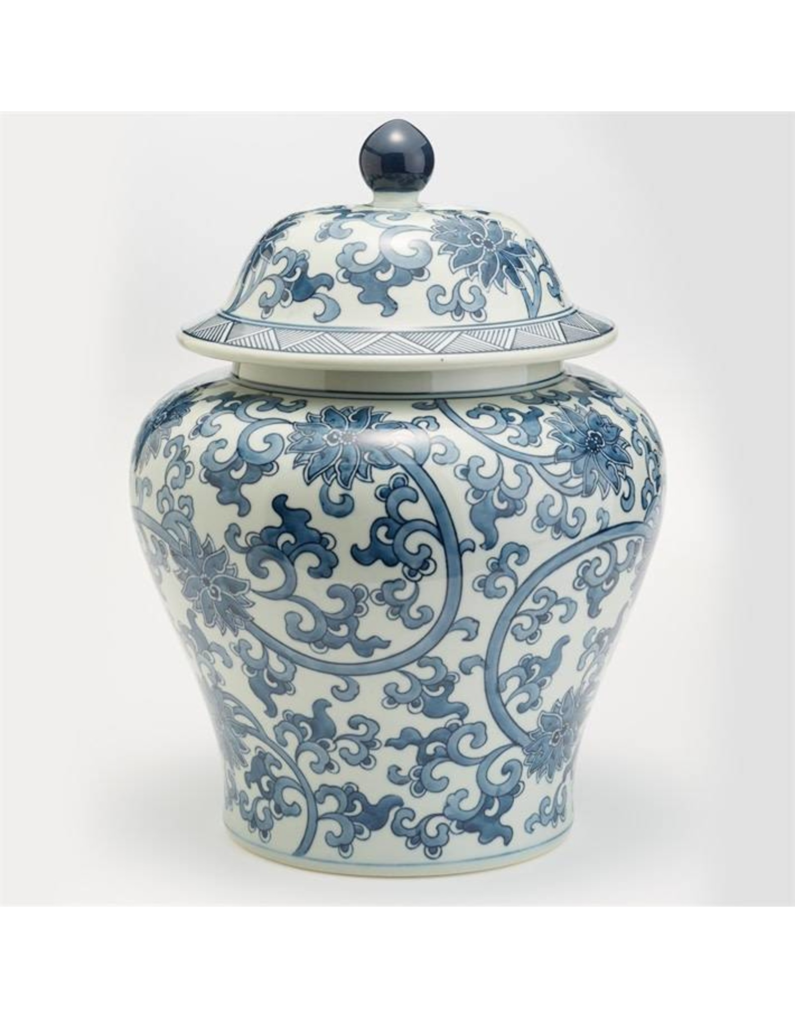 TOZAI bl & wh lotus flower squat jar