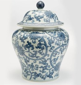 TOZAI Blue and White Lotus Flower Squat Jar