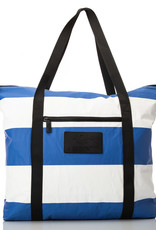 Aloha Umbrella Stripe Zipper Tote, Royal