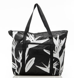 Aloha Collection Aloha Birds in Paradise Zipper Tote, White on Black