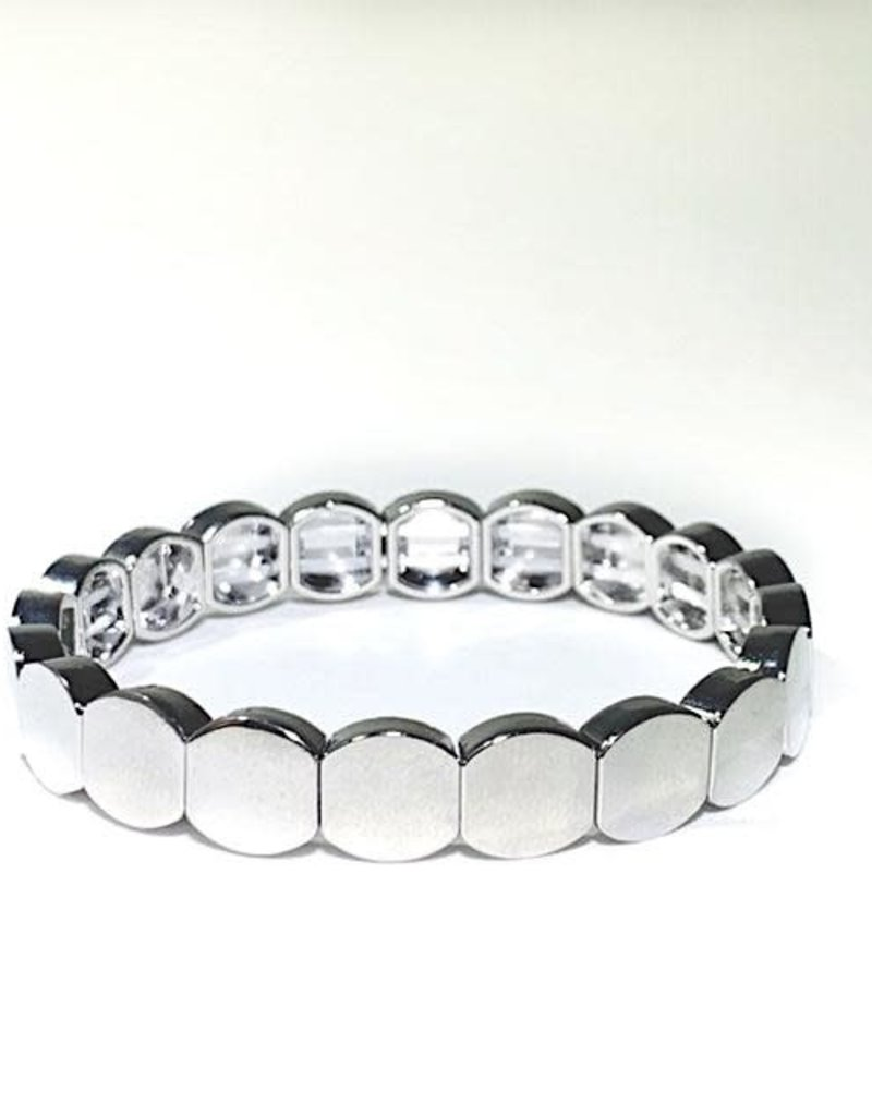 Caryn Lawn Caryn Lawn Tile Bead Round Bracelet - Silver
