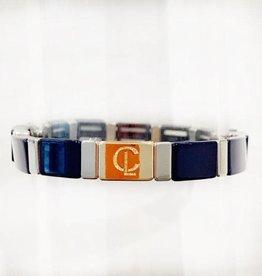 Caryn Lawn Caryn Lawn Tile Bracelet - Navy/Silver Rectangle