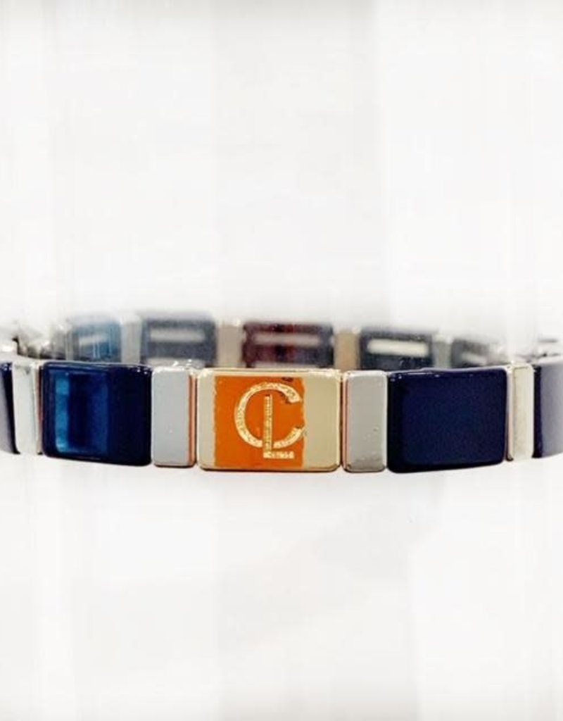 Caryn Lawn Caryn Lawn Tile Bracelet - Navy/Silver Rectangle