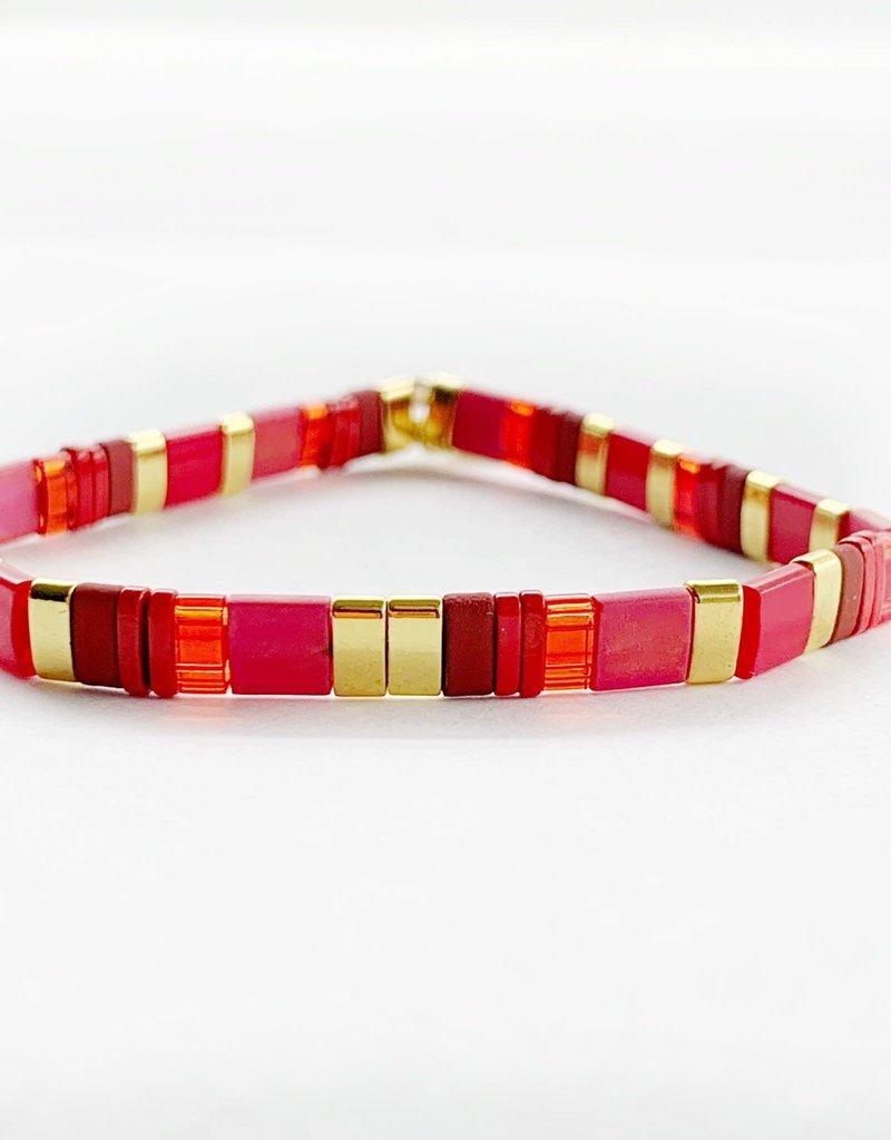 Caryn Lawn Caryn Lawn Supernova Bracelet - Frosted Red/Gold