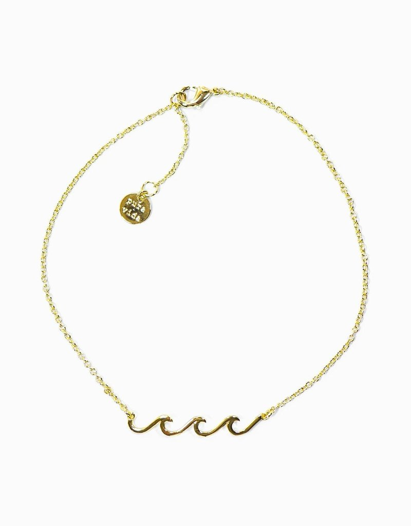 Pura Vida Pura Vida Delicate Wave Anklet - Gold