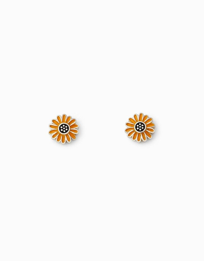 Pura Vida Pura Vida Silver Enamel Sunflower Stud Earrings