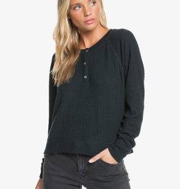Roxy Roxy Take It Home Waffle Knit Half-Button Sweatshirt